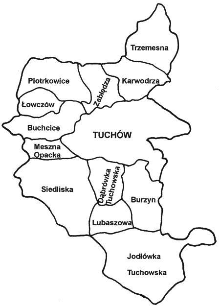 Mapa gminy Tuchów z podziałem na miejscowości, rys. archiwum UM